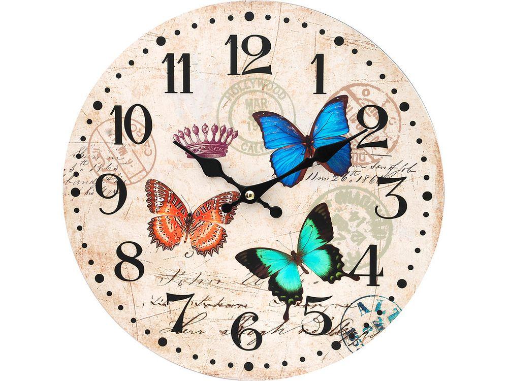 Часы настенные «Разноцветные бабочки»Дизайнерские настенные часы<br><br><br>Артикул: 116-CL<br>Размер: 34 см (диаметр)