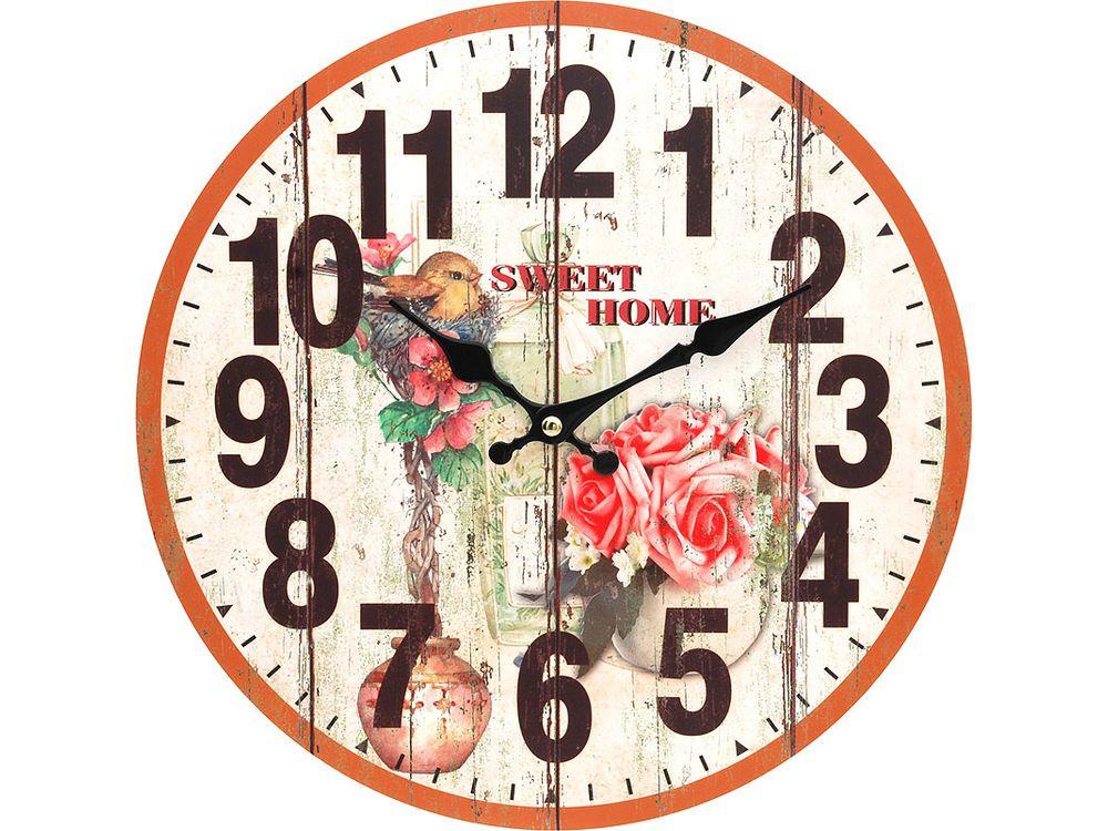 Часы настенные «Цветы и птичка»Дизайнерские настенные часы<br><br><br>Артикул: 117-CL<br>Размер: 34 см (диаметр)