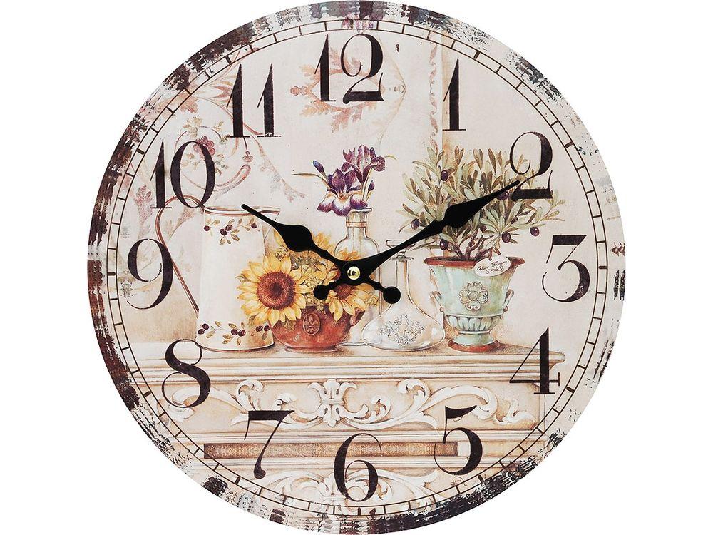Часы настенные «Цветы и олива»Дизайнерские настенные часы<br><br><br>Артикул: 120-CL<br>Размер: 34 см (диаметр)