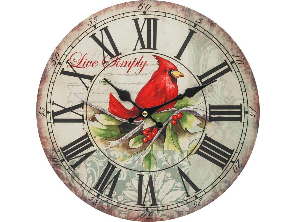 Часы настенные «Красный кардинал»Дизайнерские настенные часы<br><br><br>Артикул: 121-CL<br>Размер: 34 см (диаметр)