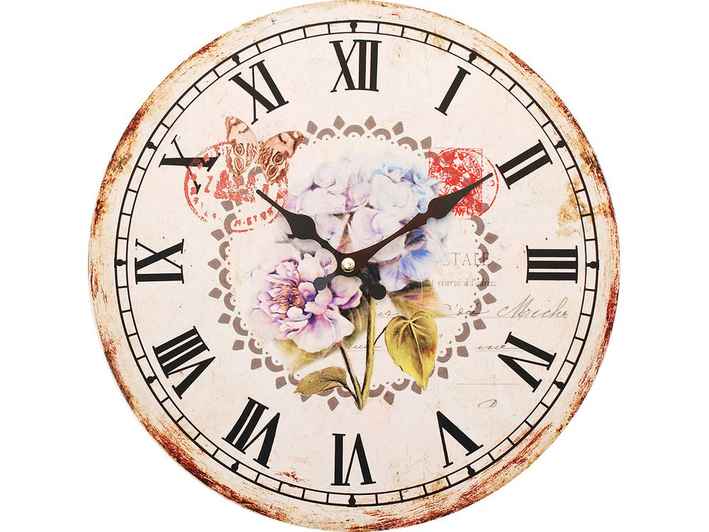 Часы настенные «Садовые цветы»Дизайнерские настенные часы<br><br><br>Артикул: 123-CL<br>Размер: 34 см (диаметр)