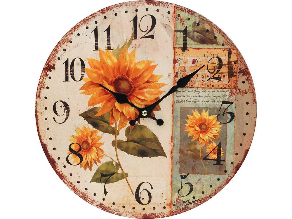 Часы настенные «Подсолнух»Дизайнерские настенные часы<br><br><br>Артикул: 124-CL<br>Размер: 34 см (диаметр)