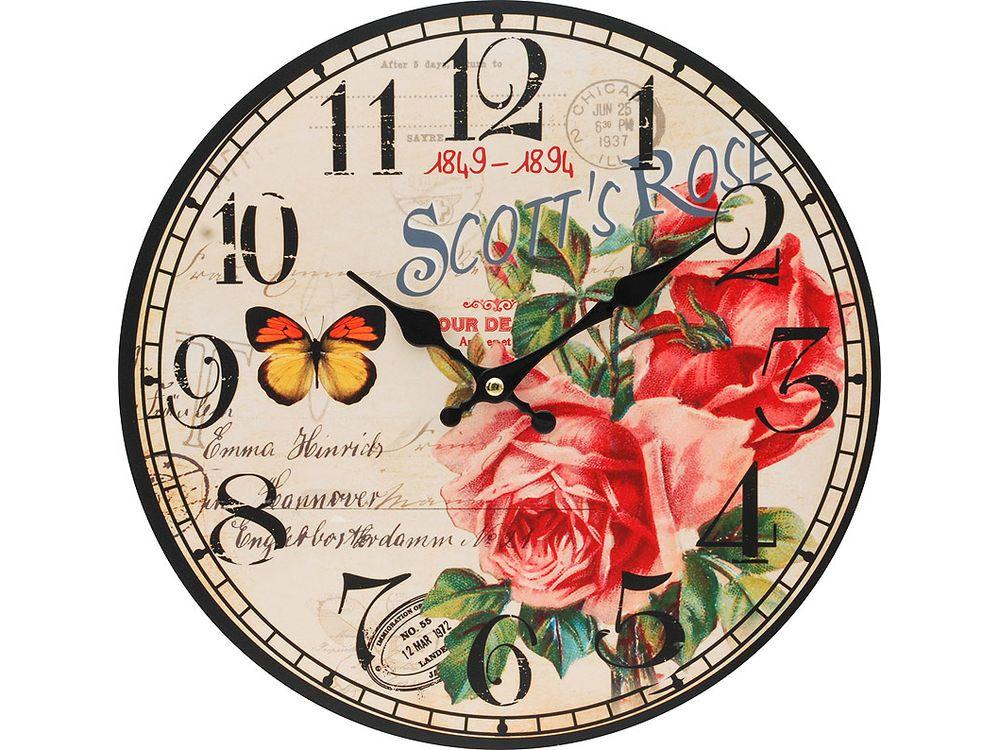 Часы настенные «Розовый куст»Дизайнерские настенные часы<br><br><br>Артикул: 126-CL<br>Размер: 34 см (диаметр)