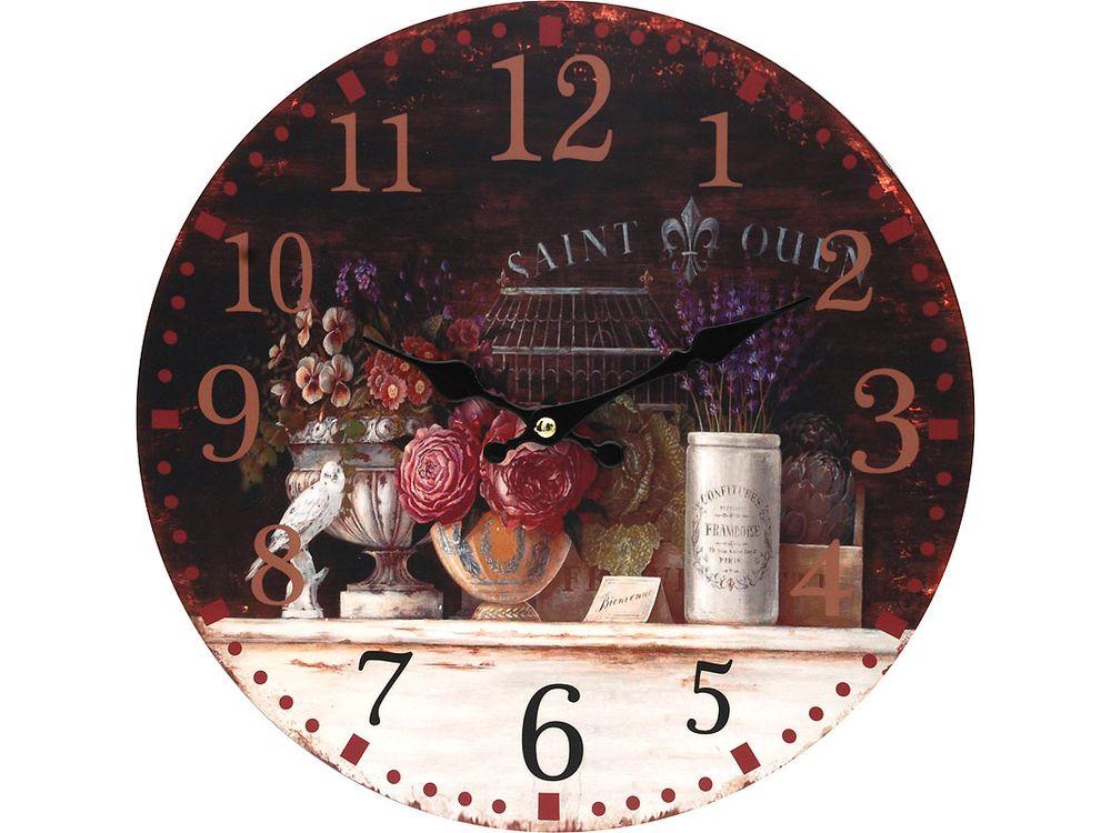 Часы настенные «Вечерний Прованс»Дизайнерские настенные часы<br><br><br>Артикул: 128-CL<br>Размер: 34 см (диаметр)