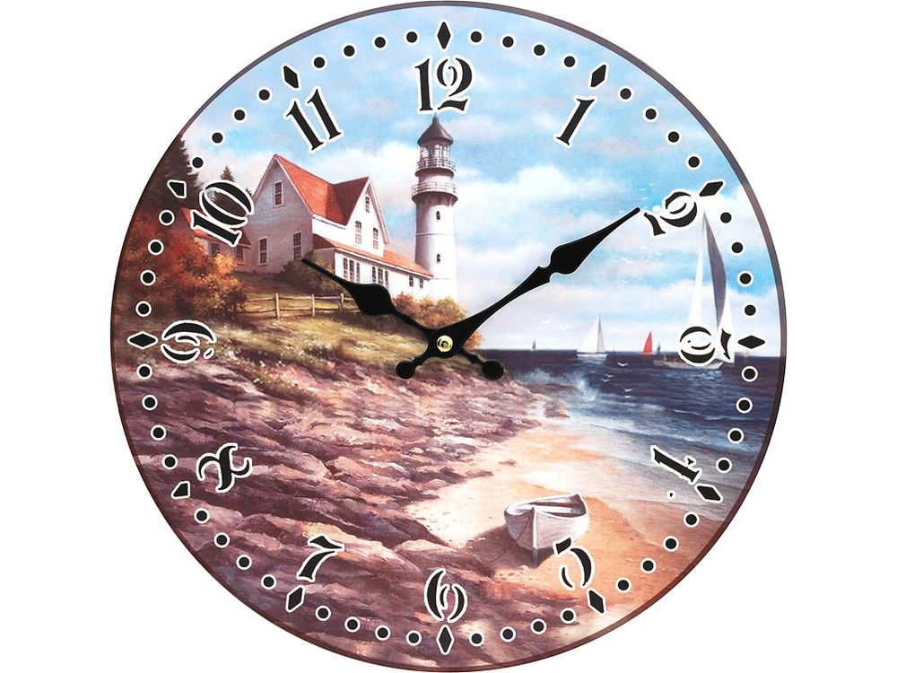 Часы настенные «На берегу моря»Дизайнерские настенные часы<br><br><br>Артикул: 129-CL<br>Размер: 34 см (диаметр)