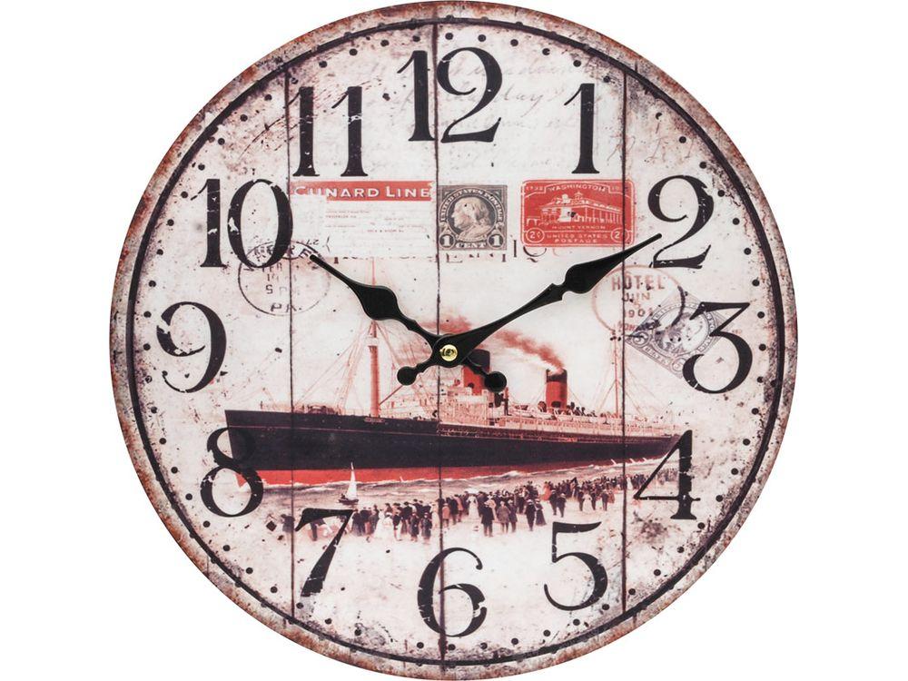Часы настенные «Пароход»Дизайнерские настенные часы<br><br><br>Артикул: 131-CL<br>Размер: 34 см (диаметр)
