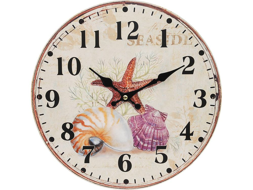 Часы настенные «Морские сокровища»Дизайнерские настенные часы<br><br><br>Артикул: 132-CL<br>Размер: 34 см (диаметр)