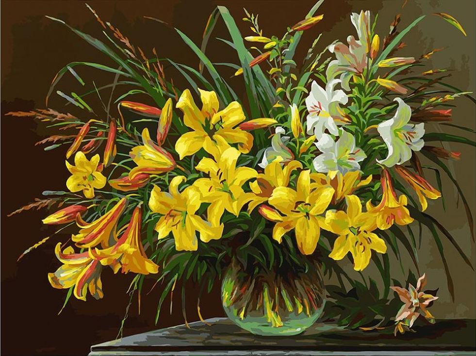 Картина по номерам «Золотая лилия» Юрия АрсенюкаКартины по номерам Белоснежка<br><br><br>Артикул: 133-AS<br>Основа: Холст<br>Сложность: сложные<br>Размер: 30x40 см<br>Количество цветов: 36<br>Техника рисования: Без смешивания красок