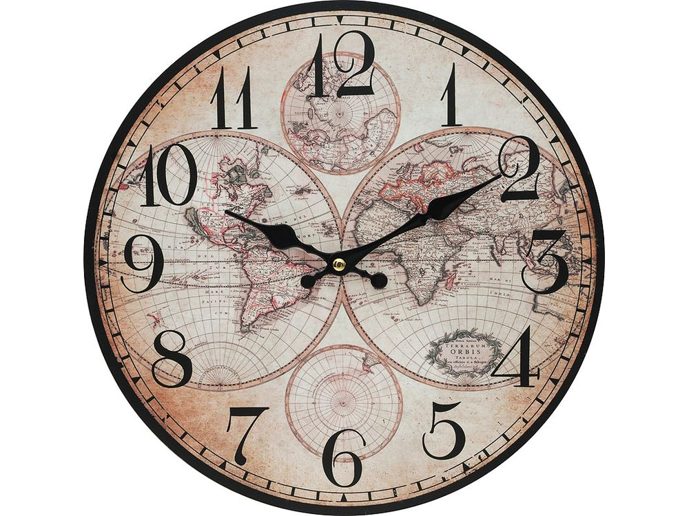 Часы настенные «Карта мира»Дизайнерские настенные часы<br><br><br>Артикул: 133-CL<br>Размер: 34 см (диаметр)