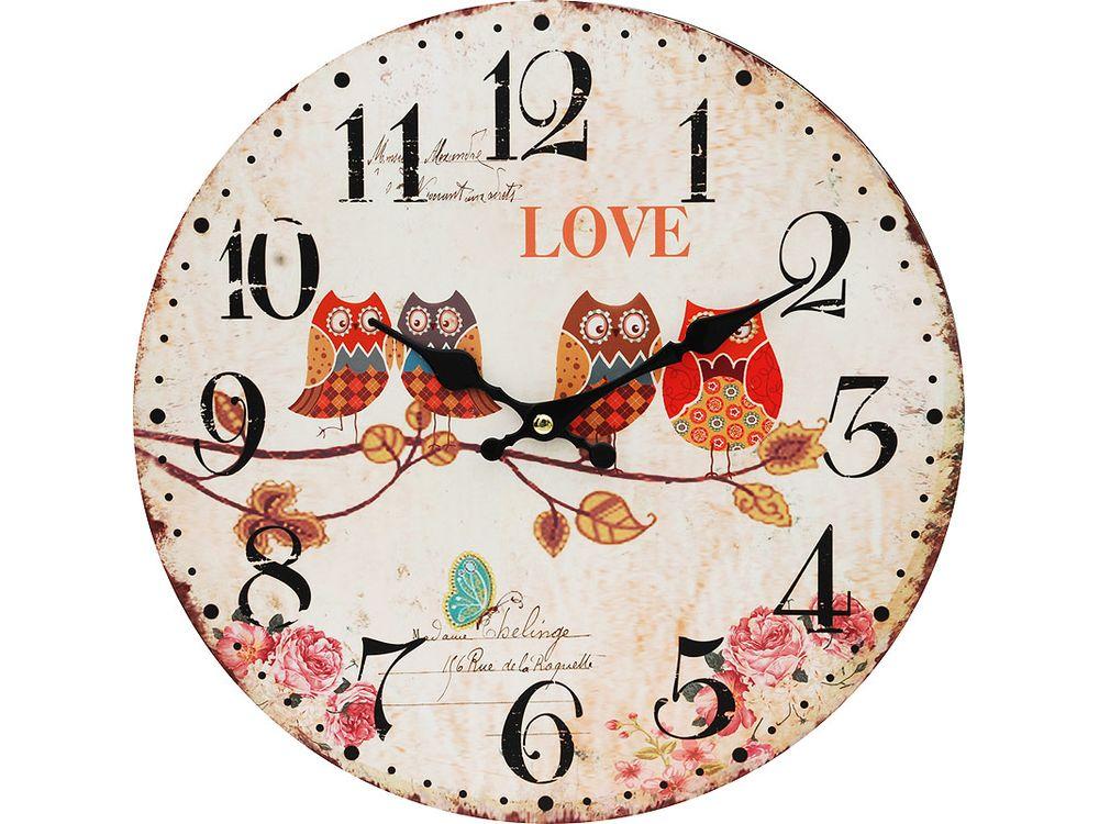 Часы настенные «Совы на ветке»Дизайнерские настенные часы<br><br><br>Артикул: 134-CL<br>Размер: 34 см (диаметр)