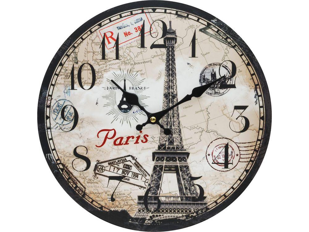 Часы настенные «Эйфелева башня»Дизайнерские настенные часы<br><br><br>Артикул: 135-CL<br>Размер: 34 см (диаметр)