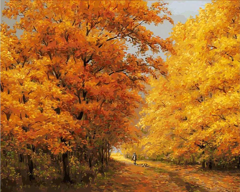 Картина по номерам «Осенний день» Юрия АрсенюкаКартины по номерам Белоснежка<br><br><br>Артикул: 174-AB<br>Основа: Холст<br>Сложность: сложные<br>Размер: 40x50 см<br>Количество цветов: 36<br>Техника рисования: Без смешивания красок