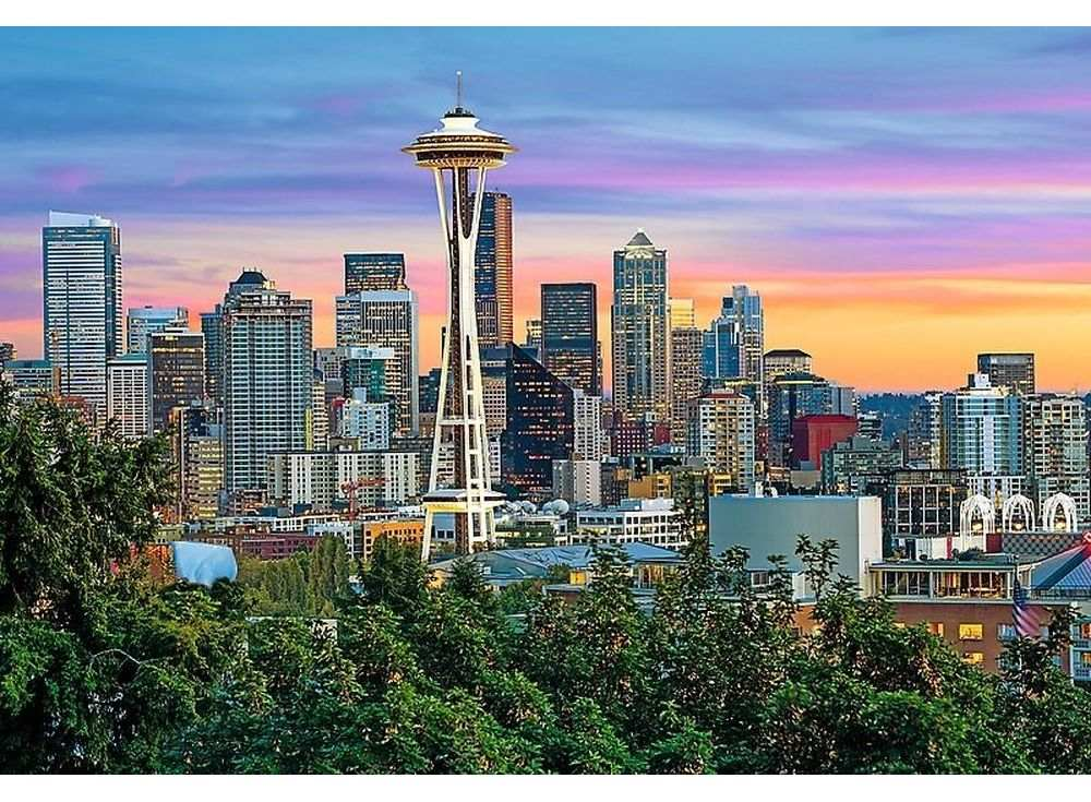 Пазлы «Спейс Нидл, Сиэтл, США»Trefl<br><br><br>Артикул: 26135<br>Размер: 85x58 см