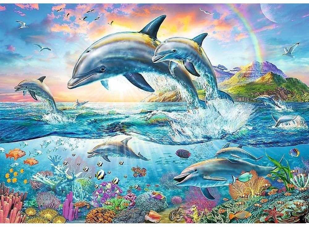 Пазлы «Счастливые дельфины»Trefl<br><br><br>Артикул: 27087<br>Размер: 96x68 см