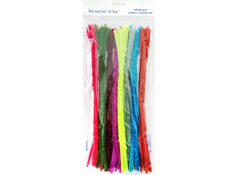 Пушистая проволока Шенил, 8 цветовФурнитура для игрушек<br><br><br>Артикул: 336-PM<br>Размер: 6x300 мм<br>Количество: 8 цветов по 10 шт.<br>Материал: Проволока, полиэстер