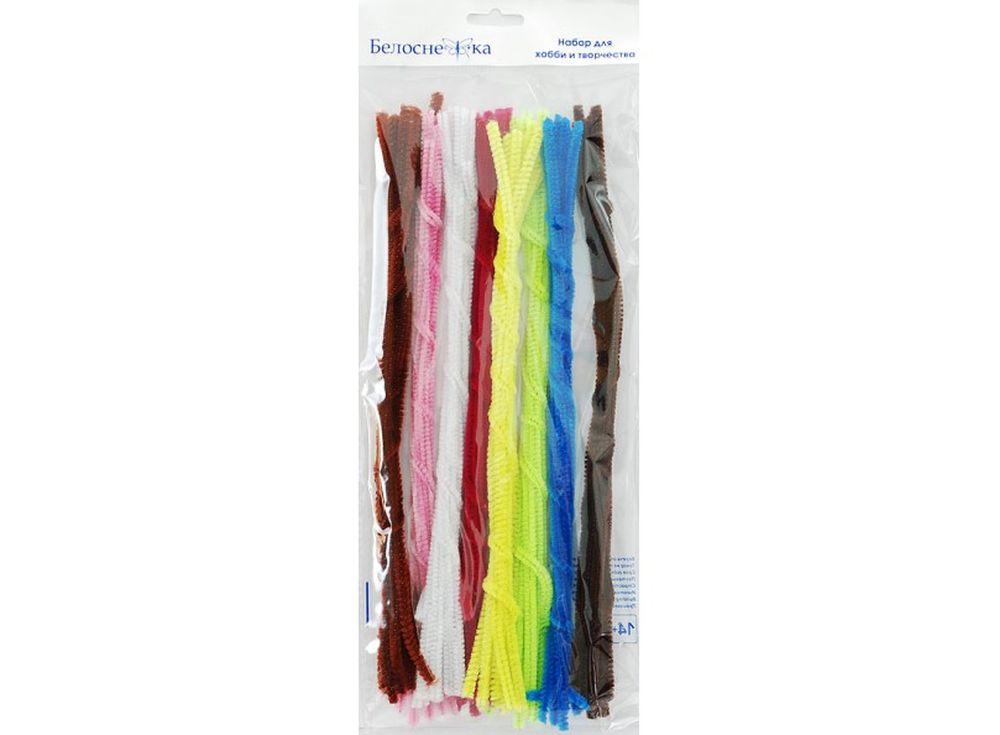 Пушистая проволока Шенил, 8 цветовФурнитура для игрушек<br><br><br>Артикул: 338-PM<br>Размер: 6x300 мм<br>Количество: 8 цветов по 10 шт.<br>Материал: Проволока, полиэстер