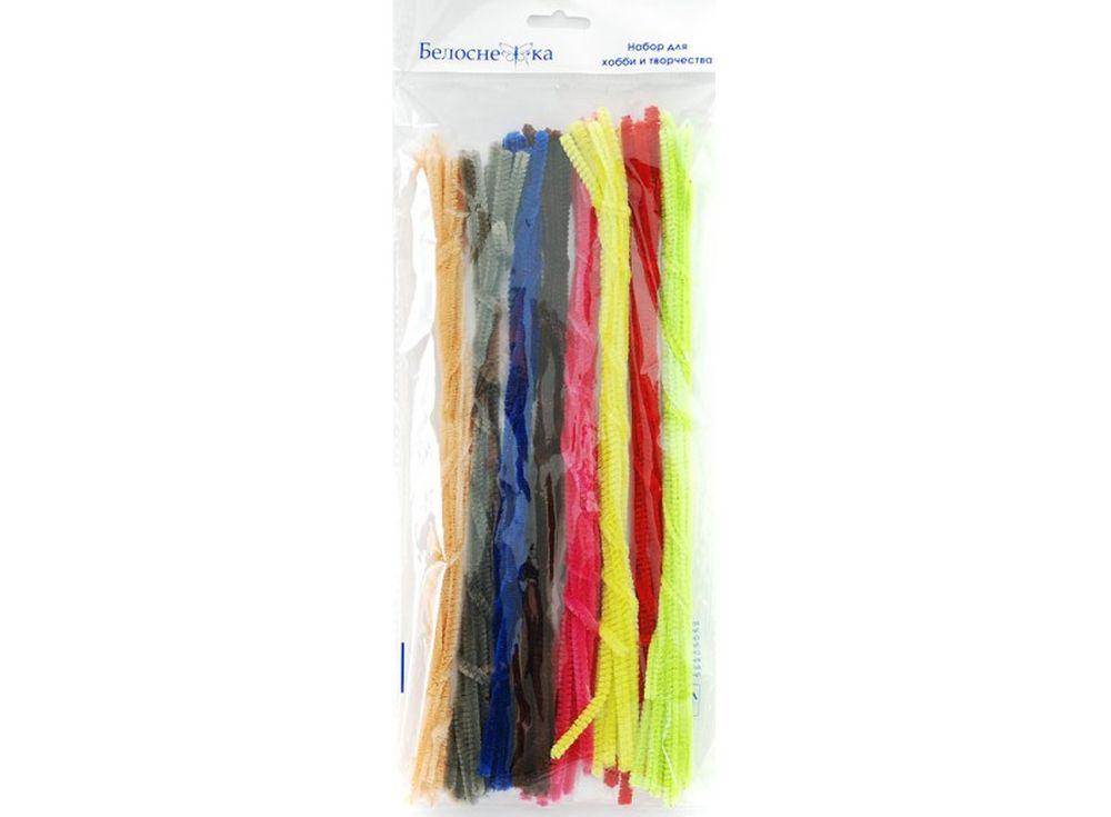 Пушистая проволока Шенил, 8 цветовФурнитура для игрушек<br><br><br>Артикул: 340-PM<br>Размер: 6x300 мм<br>Количество: 8 цветов по 10 шт.<br>Материал: Проволока, полиэстер