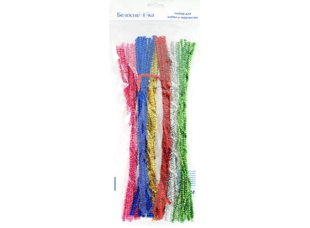 Пушистая проволока Шенил блеск, 6 цветовФурнитура для игрушек<br><br><br>Артикул: 360-PM<br>Размер: 6x300 мм<br>Количество: 6 цветов по 10 шт.<br>Материал: Проволока, полиэстер