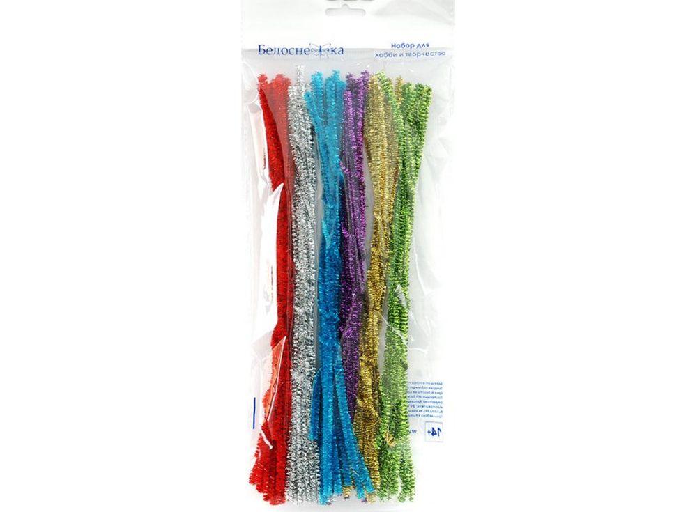 Пушистая проволока Шенил блеск, 6 цветовФурнитура для игрушек<br><br><br>Артикул: 361-PM<br>Размер: 6x300 мм<br>Количество: 6 цветов по 10 шт.<br>Материал: Проволока, полиэстер
