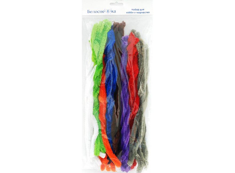 Пушистая проволока Шенил, 8 цветовФурнитура для игрушек<br><br><br>Артикул: 371-PM<br>Размер см: 12x300 мм<br>Количество: 8 цветов по 5 шт.<br>Материал: Проволока, полиэстер