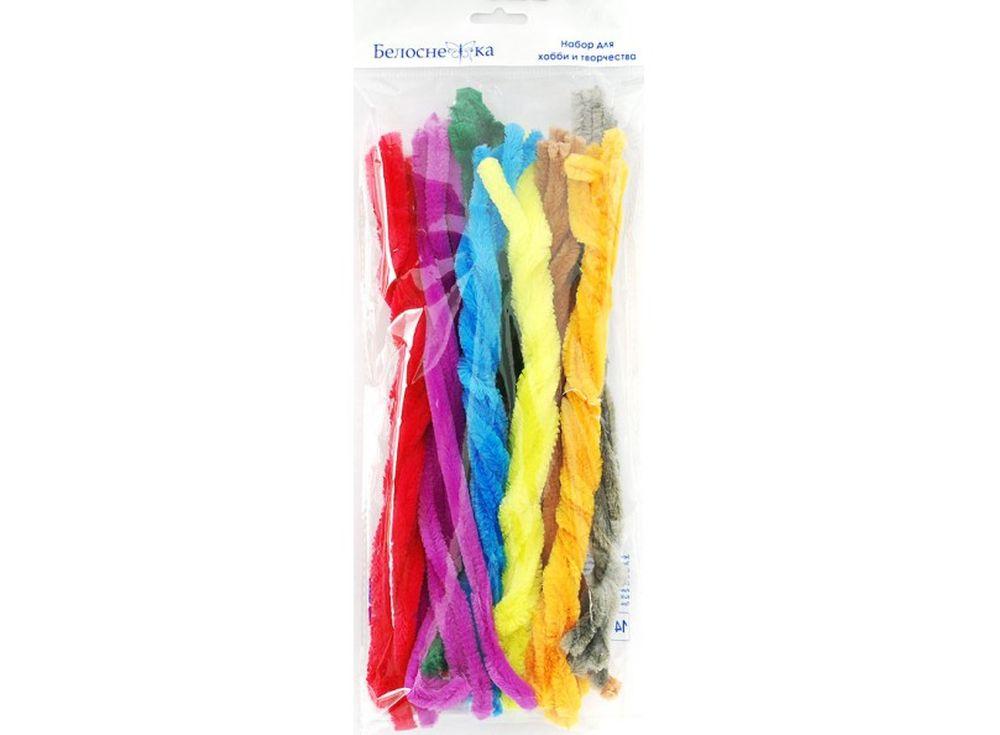 Пушистая проволока Шенил, 8 цветовФурнитура для игрушек<br><br><br>Артикул: 372-PM<br>Размер: 12x300 мм<br>Количество: 8 цветов по 5 шт.<br>Материал: Проволока, полиэстер