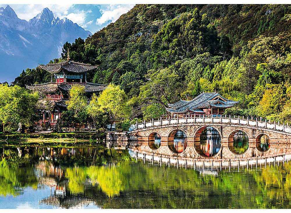 Пазлы «Бассейн Черного дракона, Лицзян, Китай»Trefl<br><br><br>Артикул: 37258<br>Размер: 48x34 см