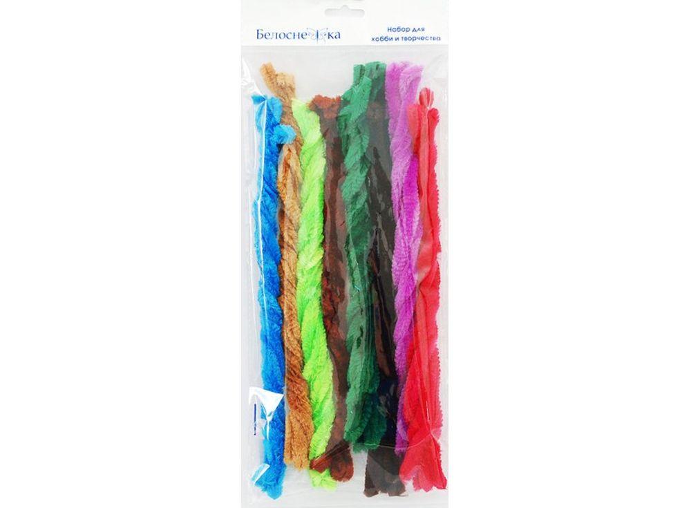 Пушистая проволока Шенил, 8 цветовФурнитура для игрушек<br><br><br>Артикул: 374-PM<br>Размер: 12x300 мм<br>Количество: 8 цветов по 5 шт.<br>Материал: Проволока, полиэстер