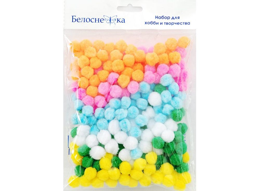 Декоративные помпоны, 6 цветовФурнитура для игрушек<br><br><br>Артикул: 411-PM<br>Размер см: 15 мм<br>Количество: 6 цветов по 45 шт.<br>Материал: Искусственное волокно