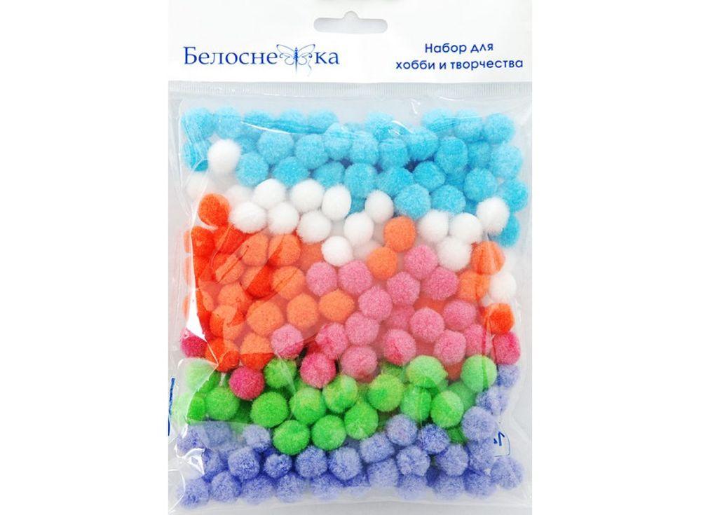 Декоративные помпоны, 6 цветовФурнитура для игрушек<br><br><br>Артикул: 412-PM<br>Размер: 15 мм<br>Количество: 6 цветов по 45 шт.<br>Материал: Искусственное волокно