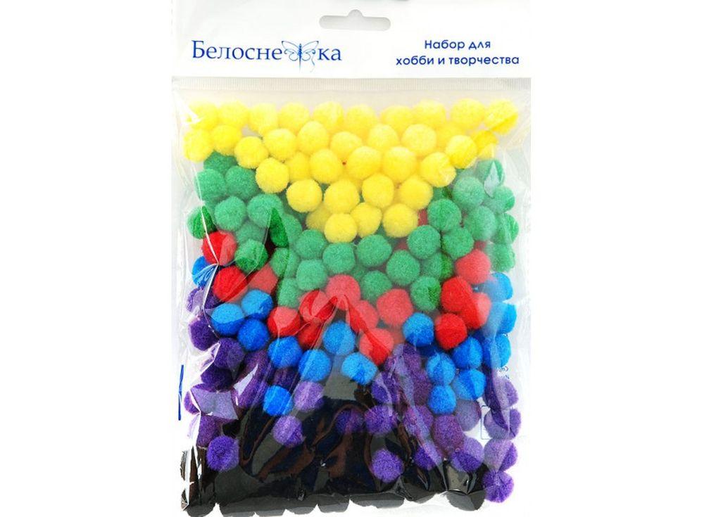 Декоративные помпоны, 6 цветовФурнитура для игрушек<br><br><br>Артикул: 413-PM<br>Размер: 15 мм<br>Количество: 6 цветов по 45 шт.<br>Материал: Искусственное волокно