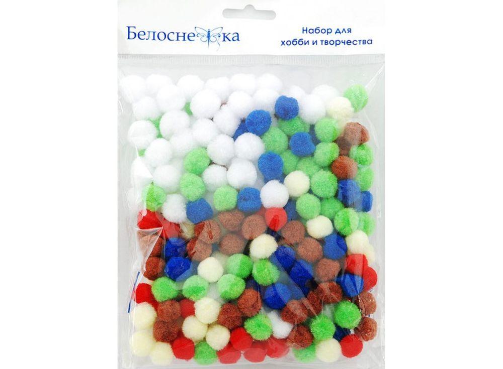 Декоративные помпоны, 6 цветовФурнитура для игрушек<br><br><br>Артикул: 414-PM<br>Размер: 15 мм<br>Количество: 6 цветов по 45 шт.<br>Материал: Искусственное волокно