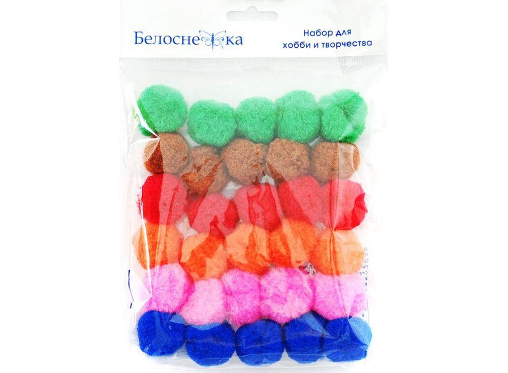 Декоративные помпоны, 6 цветовФурнитура для игрушек<br><br><br>Артикул: 422-PM<br>Размер: 30 мм<br>Количество: 6 цветов по 5 шт.<br>Материал: Искусственное волокно