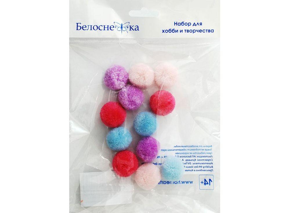 Декоративные помпоны кашемировые, 4 цветаФурнитура для игрушек<br><br><br>Артикул: 450-PM<br>Размер: 25 мм<br>Количество: 4 цвета по 3 шт.<br>Материал: Искусственное волокно