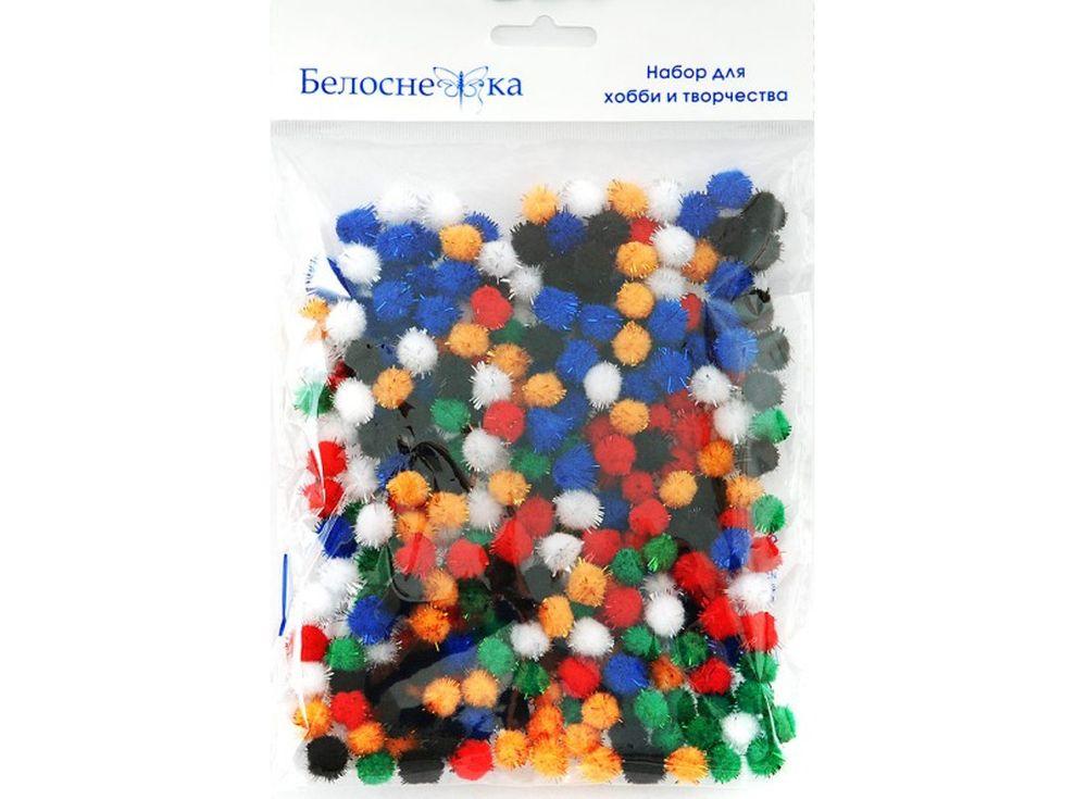 Декоративные помпоны блестящие, 6 цветовФурнитура для игрушек<br><br><br>Артикул: 461-PM<br>Размер: 10 мм<br>Количество: 6 цветов по 45 шт.<br>Материал: Искусственное волокно