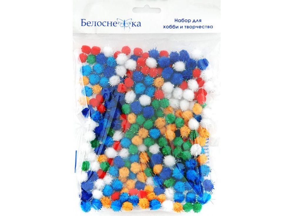 Декоративные помпоны блестящие, 6 цветовФурнитура для игрушек<br><br><br>Артикул: 464-PM<br>Размер: 10 мм<br>Количество: 6 цветов по 45 шт.<br>Материал: Искусственное волокно