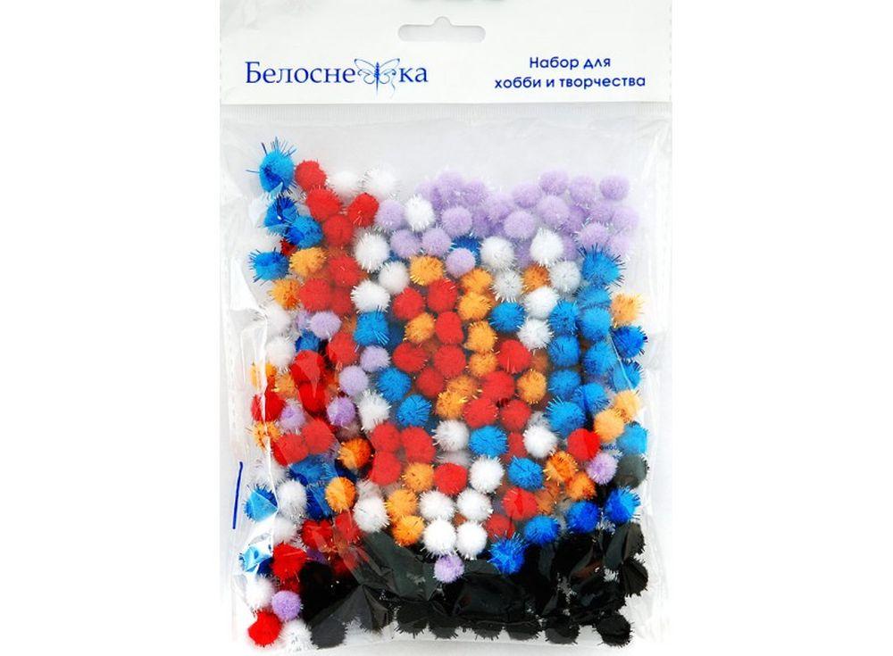 Декоративные помпоны блестящие, 6 цветовФурнитура для игрушек<br><br><br>Артикул: 465-PM<br>Размер: 10 мм<br>Количество: 6 цветов по 45 шт.<br>Материал: Искусственное волокно