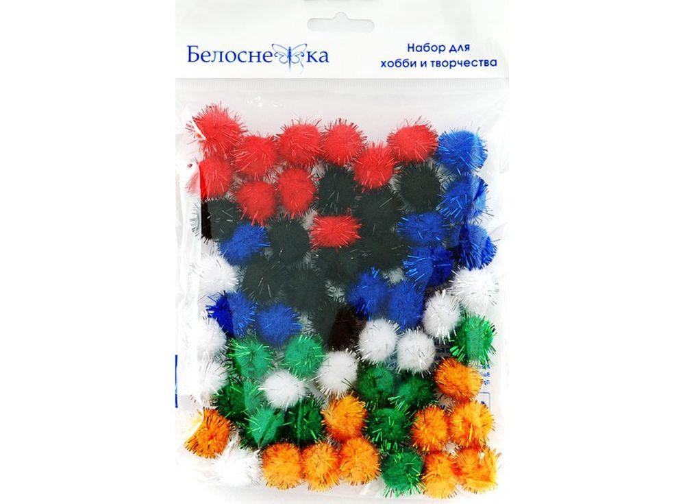 Декоративные помпоны блестящие, 6 цветовФурнитура для игрушек<br><br><br>Артикул: 471-PM<br>Размер: 20 мм<br>Количество: 6 цветов по 10 шт.<br>Материал: Искусственное волокно