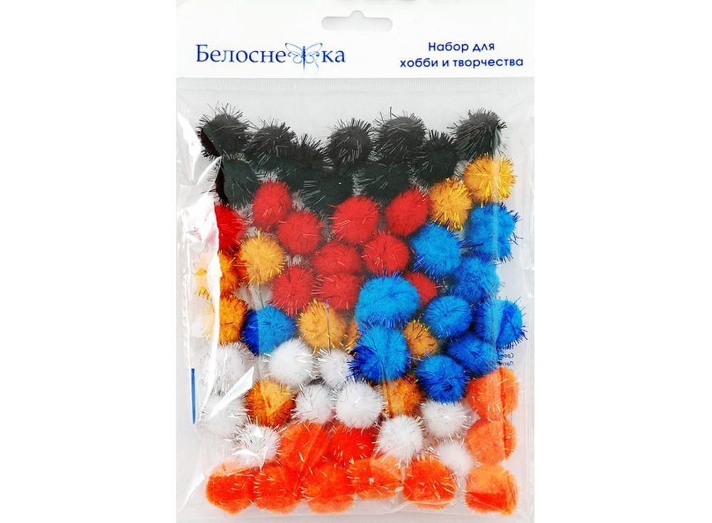 Декоративные помпоны блестящие, 6 цветовФурнитура для игрушек<br><br><br>Артикул: 472-PM<br>Размер: 20 мм<br>Количество: 6 цветов по 10 шт.<br>Материал: Искусственное волокно