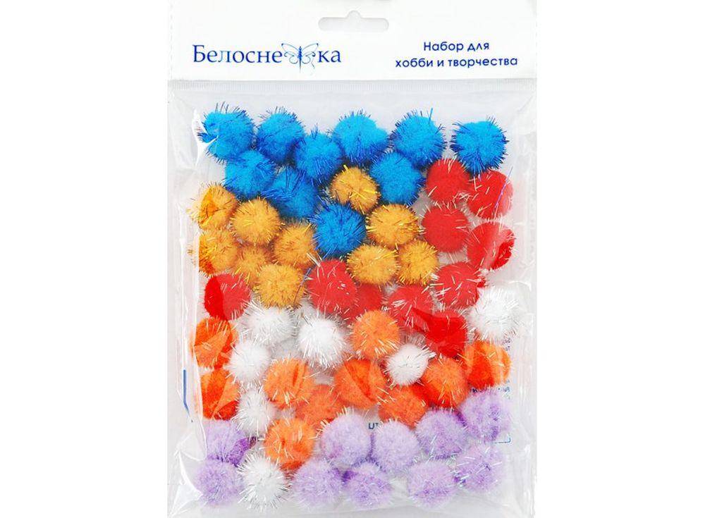 Декоративные помпоны блестящие, 6 цветовФурнитура для игрушек<br><br><br>Артикул: 473-PM<br>Размер: 20 мм<br>Количество: 6 цветов по 10 шт.<br>Материал: Искусственное волокно