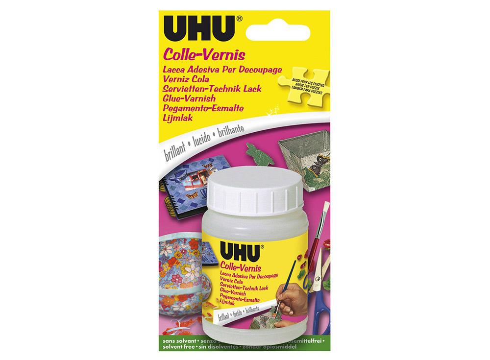 Клей-лак UHU Creativ для бумаги и тканиКлей для рукоделия<br>Рекомендации производителя по использованию при декупаже:  <br><br>Проверьте поверхность изделия - она должна быть сухой и чистой, обязательно обезжиренной; <br><br>Подготовьте материал для декупажа - отделите слой салфетки с иллюстрацией;<br><br>На...<br><br>Артикул: 47375<br>Объем: 150 мл