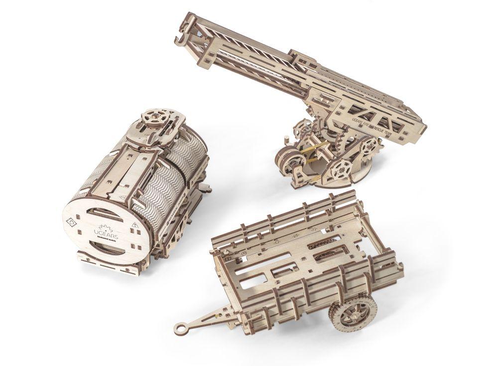 3D-пазл Ugears «Дополнение к грузовику UGM-11»Ugears<br>Дополнительные обновления для грузовика UGM-11 - реалистичные модели цистерны, лестницы, прицепа. <br> <br><br> Цистерна - оснащена механизмом открывания. Лепестки конструкции раскрываются, если покрутить специальную ручку на крыше цистерны. Емкость бочки поз...<br><br>Артикул: 70019<br>Размер: 36x12x17,5 см<br>Расчетное время сборки: 10-11 часов<br>Материал: Дерево<br>Размер упаковки: 37,5x17x3,5см<br>Возраст: от 14 лет