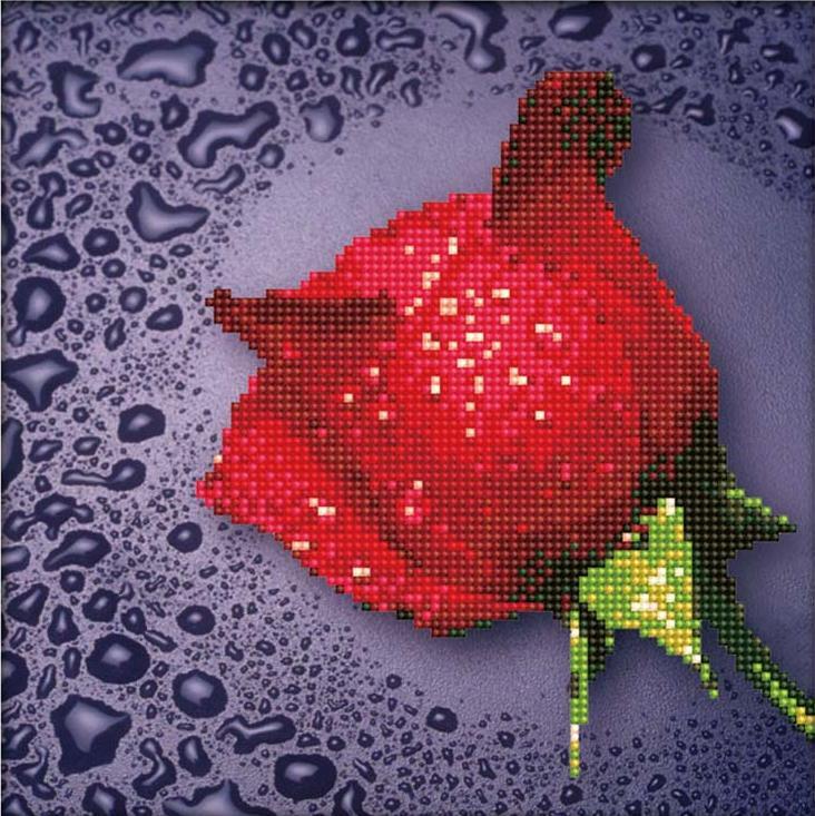 Алмазная вышивка «Красная роза»Алмазная вышивка Color Kit (Колор Кит)<br><br><br>Артикул: 80209<br>Основа: Холст без подрамника<br>Сложность: средние<br>Размер: 25x25 см<br>Выкладка: Частичная<br>Количество цветов: 14<br>Тип страз: Круглые непрозрачные (акриловые)