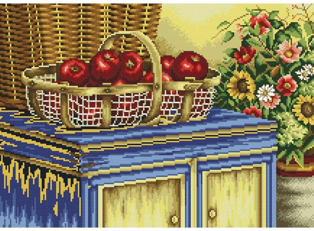 Набор для вышивания «Корзинка с яблоками»Белоснежка<br><br><br>Артикул: B-2770<br>Основа: канва Aida 14<br>Сложность: сложные<br>Размер: 39x51 см<br>Техника вышивки: счетный крест<br>Тип схемы вышивки: Цветная схема<br>Количество крестиков: 155x220<br>Цвет канвы: Белый<br>Размер вышитой работы: 28,5x41 см<br>Количество цветов: 39<br>Рисунок на канве: не нанесён<br>Техника: Вышивка крестом