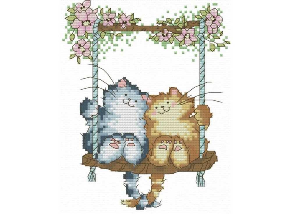 Набор для вышивания «Влюбленные кошки»Белоснежка<br><br><br>Артикул: B-407<br>Основа: канва Aida 14<br>Сложность: средние<br>Размер: 20x23 см<br>Техника вышивки: счетный крест<br>Тип схемы вышивки: Цветная схема<br>Количество крестиков: 66x82<br>Цвет канвы: Белый<br>Размер вышитой работы: 12x15 см<br>Количество цветов: 18<br>Рисунок на канве: не нанесён<br>Техника: Вышивка крестом