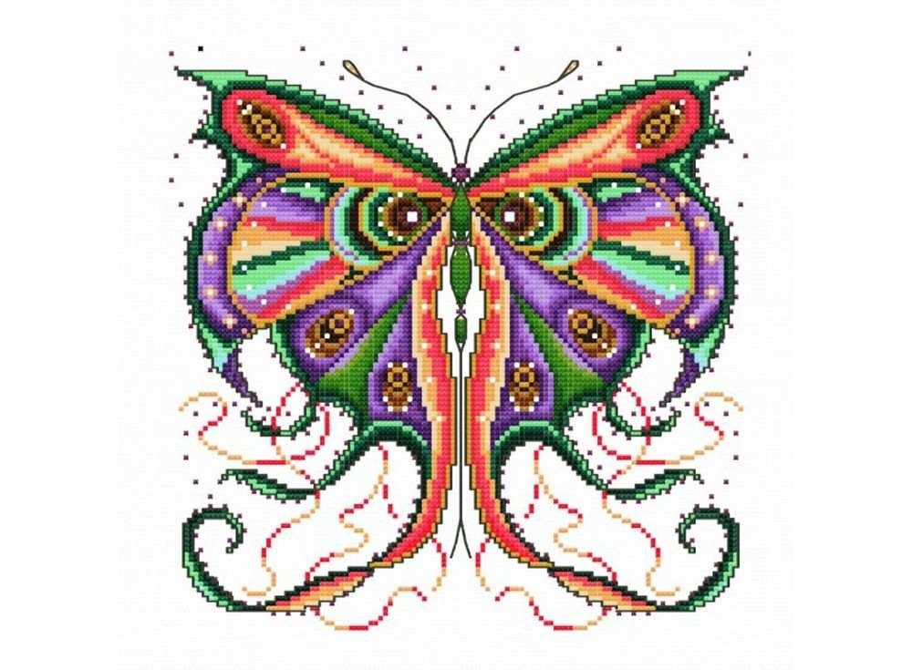 Набор для вышивания «Кружевная бабочка»Белоснежка<br><br><br>Артикул: B-512<br>Основа: канва Aida 14<br>Сложность: средние<br>Размер: 32x32 см<br>Техника вышивки: счетный крест<br>Тип схемы вышивки: Цветная схема<br>Количество крестиков: 120x120<br>Цвет канвы: Белый<br>Размер вышитой работы: 22x22 см<br>Количество цветов: 27<br>Рисунок на канве: не нанесён<br>Техника: Вышивка крестом