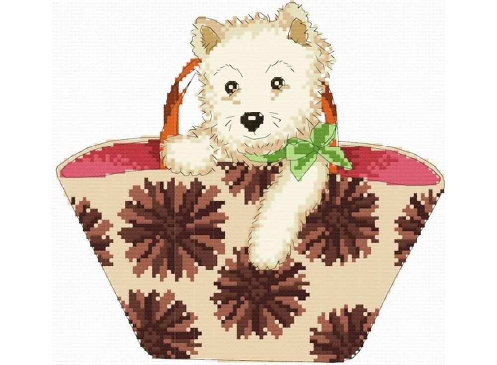 Набор для вышивания «Щенок в сумке»Белоснежка<br><br><br>Артикул: B-814<br>Основа: канва Aida 14<br>Сложность: средние<br>Размер: 27x28 см<br>Техника вышивки: счетный крест<br>Тип схемы вышивки: Цветная схема<br>Количество крестиков: 94x104<br>Цвет канвы: Белый<br>Размер вышитой работы: 17x18,5 см<br>Количество цветов: 18<br>Рисунок на канве: не нанесён<br>Техника: Вышивка крестом
