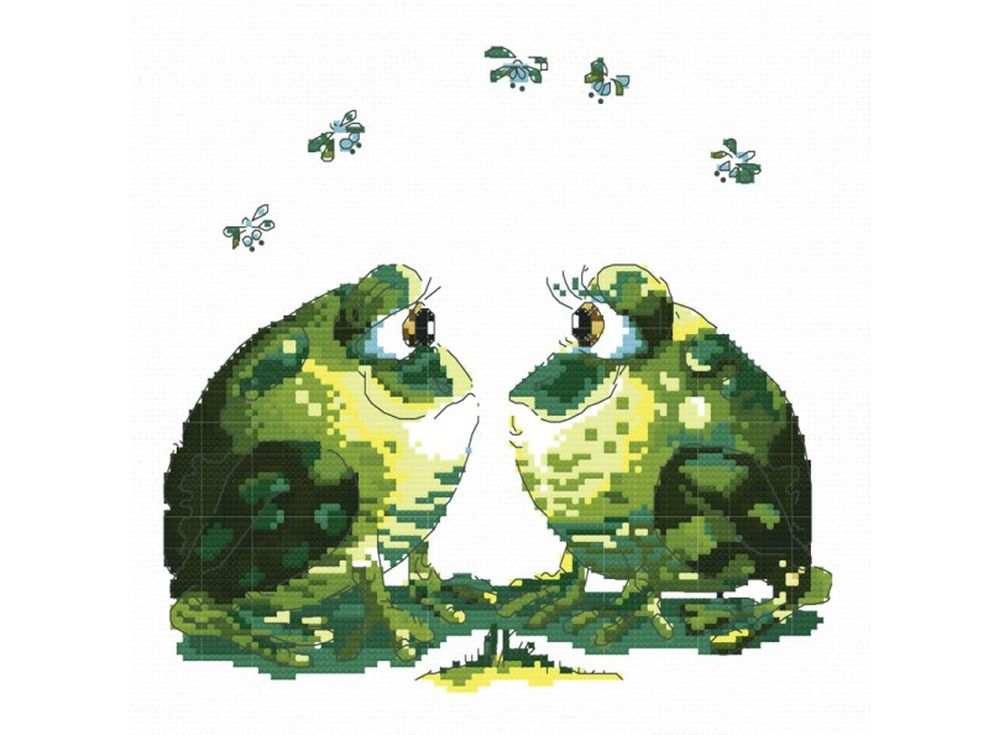 Набор для вышивания «Влюбленные лягушки»Белоснежка<br><br><br>Артикул: B-819<br>Основа: канва Aida 14<br>Сложность: средние<br>Размер: 29x30 см<br>Техника вышивки: счетный крест<br>Тип схемы вышивки: Цветная схема<br>Количество крестиков: 98x112<br>Цвет канвы: Белый<br>Размер вышитой работы: 18x20,5 см<br>Количество цветов: 18<br>Рисунок на канве: не нанесён<br>Техника: Вышивка крестом