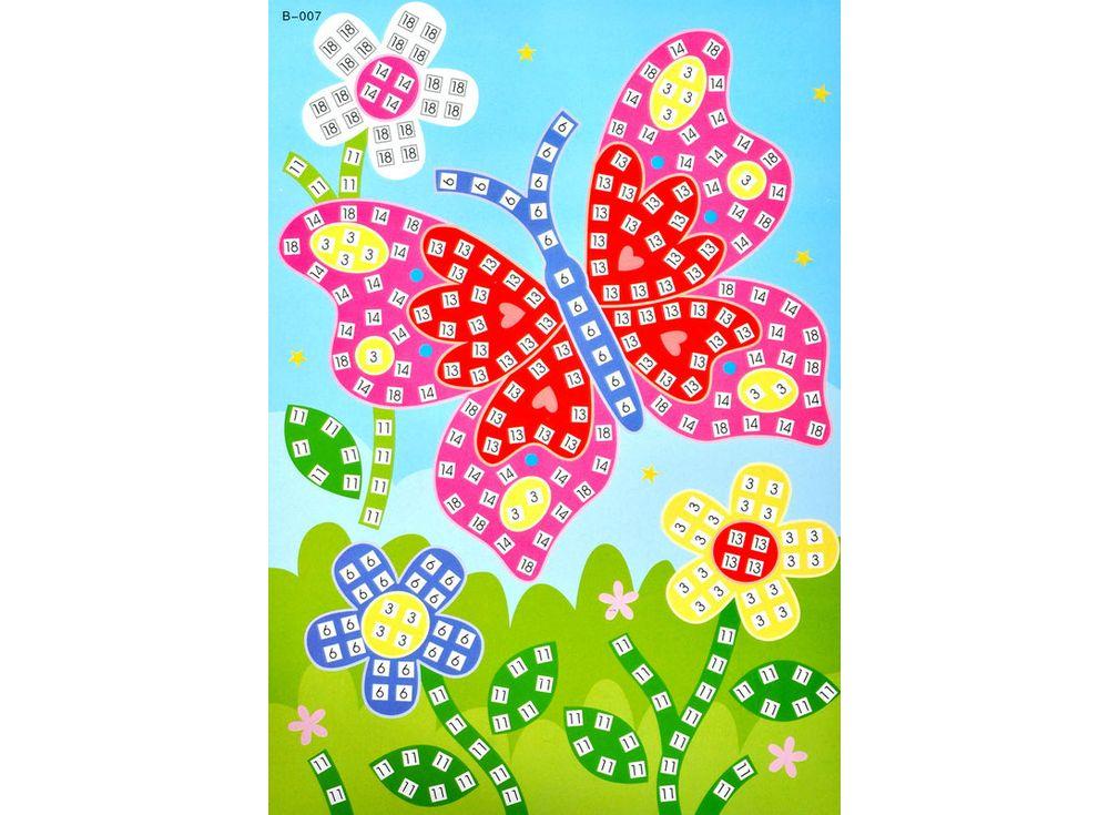 Мозаика из стикеров «Бабочка»Мозаика из стикеров<br><br><br>Артикул: B007<br>Размер: 16,5x23,5 см<br>Материал: Картон<br>Возраст: от 3 лет