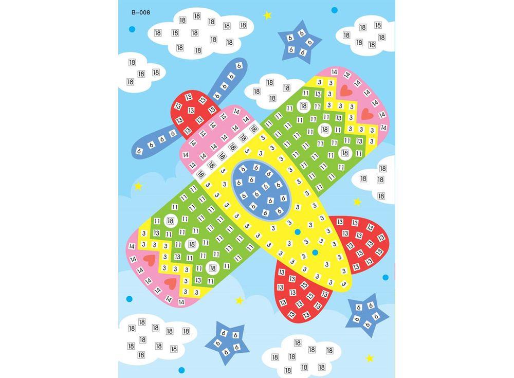 Мозаика из стикеров «Самолет»Мозаика из стикеров<br><br><br>Артикул: B008<br>Размер: 16,5x23,5 см<br>Материал: Картон<br>Возраст: от 3 лет