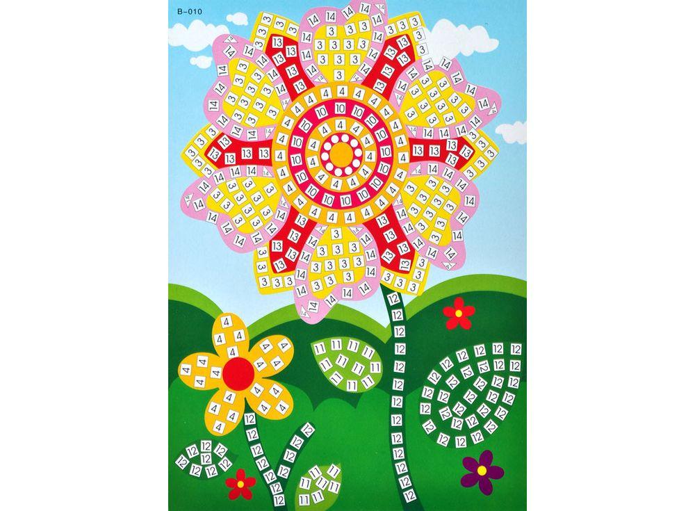 Мозаика из стикеров «Цветочек»Мозаика из стикеров<br><br><br>Артикул: B010<br>Размер: 16,5x23,5 см<br>Материал: Картон<br>Возраст: от 3 лет
